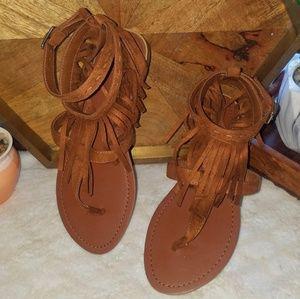 Brown Fringe Sandals NWOT Size 6.5